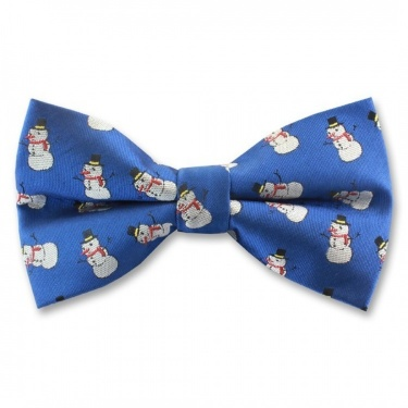 Blue Ready Tied Bow Tie With Festive Snowmen