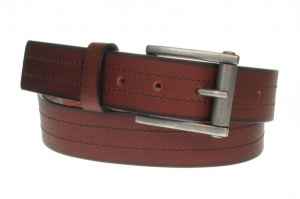 35mm Premium Brown Leather Jeans Belt