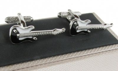 Black Electric Guitar Cufflinks