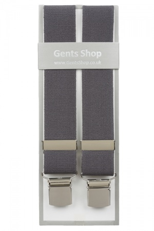 Plain Grey Elastic Trouser Braces With Large Clips