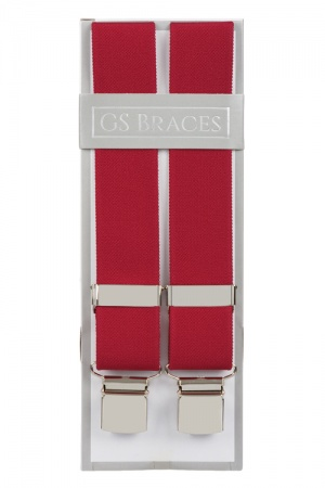 Plain Deep Red Elastic Trouser Braces With Large Clips