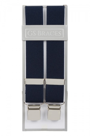 Plain Midnight Blue Trouser Braces With Large Clips
