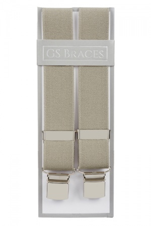 Plain Taupe Trouser Braces With Large Clips