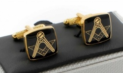 Masonic Black Square & Compass Gold Coloured Cufflinks
