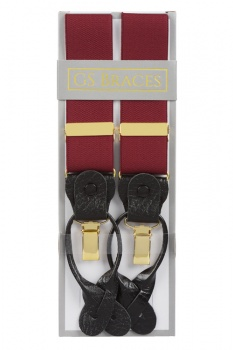 Classic Plain Burgundy Y Back 2 in 1 Combination Trouser Braces With Rolled Leather Ends and Clips