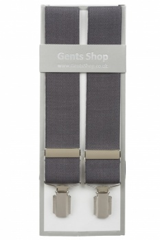 Plain Grey Braces For Trousers With Silver Coloured Feather Edged Clips
