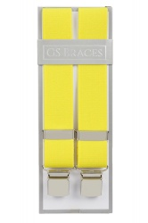 Plain Yellow Elastic Trouser Braces With Large Clips