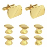 6 Gold Dress Button Studs with Matching Cufflinks