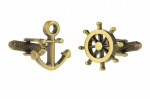 Burnished Gold Colour Ships Wheel and Anchor Cufflinks