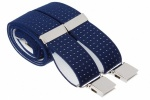 Blue Polka Dot Trouser Braces With Large Clips