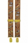 Brown Trouser Braces with Pheasants Dogs and Hunting Designs