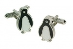 Penguin Cufflinks with a Crystal Eye