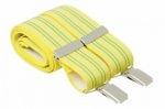 Mens Yellow Elastic Trouser Braces With Thin Stripes And Silver Colour Clips