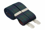 Green Tartan Elastic Trouser Braces With Silver Colour Clips