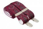Deep Red Mens Trouser Braces with Burgundy Paisley Design