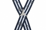 Blue and White Stripe Trouser Braces with Anchor and Wheel Design