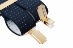 Blue Trouser Braces with Small White Polka Dot Design