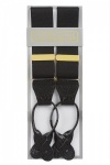 Classic Plain Black Y Back Elastic Trouser Braces With Rolled Leather Ends