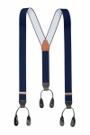 Classic Plain Blue Y Back Elastic Trouser Braces With Rolled Leather Ends