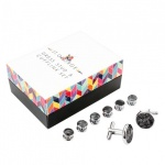 Black Dress Shirt Button Stud and Cufflink Set - Mother of Pearl Effect