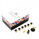 Black Dress Shirt Studs and Cufflinks with Gold Colour Surround