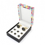 Black Mother of Pearl Effect Dress Shirt Button Stud and Cufflink Set