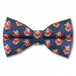 Blue Christmas Bow Tie With Jolly Santa