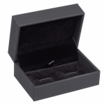 Brushed Rhodium Cufflinks With Black Lines