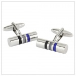 Cylinder Cufflinks with Blue Lines