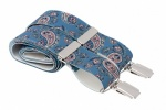 Light Blue and Pink Paisley Trouser Braces