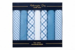 Mens Handkerchief Set Blue and White Mixed 7 Pack