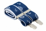 Navy Blue Trouser Braces with Nautical Design