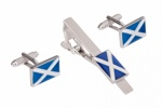 Scottish Flag Cufflinks and Tie Clip Set