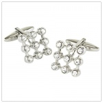 Square Grid Cufflinks with Crystal Stones