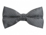 Grey Bow Tie with Check Pattern