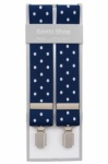 Blue Trouser Braces with Large White Polka Dots