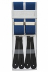 Classic Plain Blue Y Back Trouser Braces With Leather Ends by Gents Shop