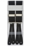 Classic Plain Black Y Back Trouser Braces With Leather Ends by Gents Shop