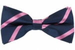 Silk Navy Blue Bow Tie With Pink Stripes
