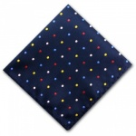 Navy Blue Pocket Square with Bright Polka dots