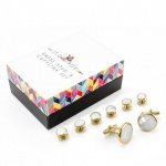 White Mother of Pearl Effect Dress Shirt Button Stud and Cufflink Set