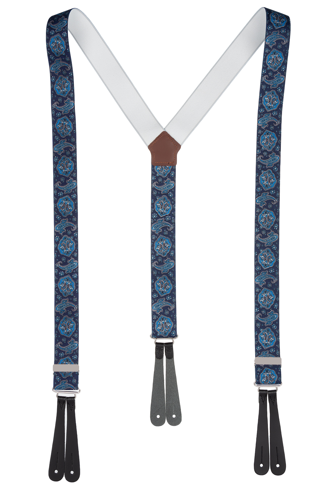 Mixed Blue Paisley Button Braces with Leather Ends