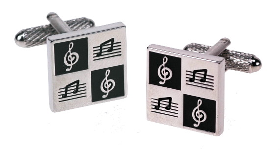 Square Cufflinks with Musical Notes