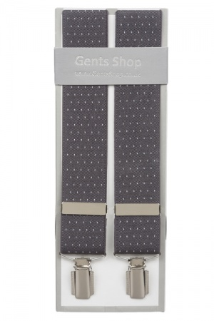 Grey Suit Trouser Braces With White Dots