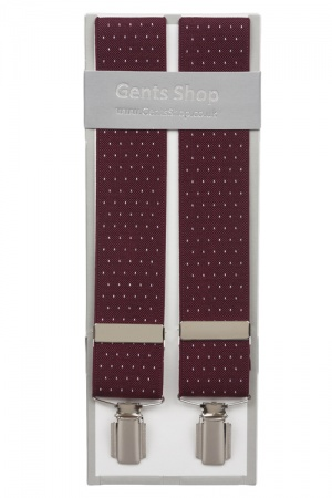 Maroon Suit Trouser Braces With White Dots