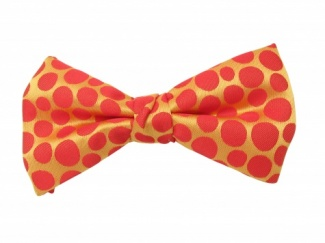 Ready Tied Bow Tie With Orange Spot Design