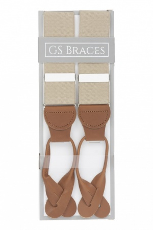 Beige Button On Trouser Braces