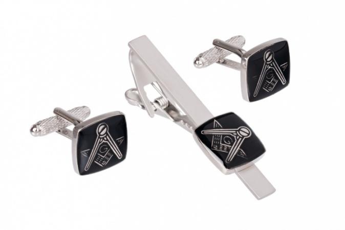 Masonic Cufflinks and Tie Clip Set Black