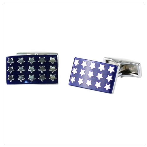 Blue Shirt Cufflinks With Small Stars