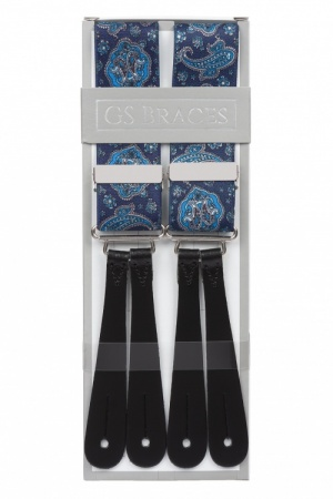 Blue Paisley Button Braces With Leather Ends
